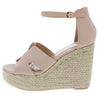 Bacer1 Nude Cut Out Open Toe Espadrille Platform Wedge - Wholesale Fashion Shoes