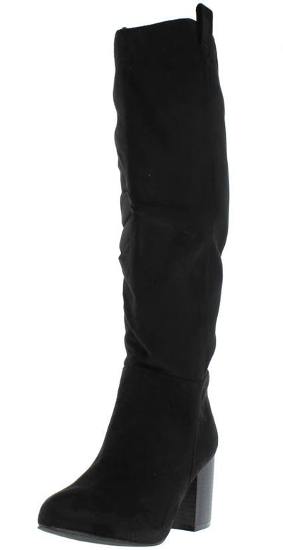 Baden4 Black Knee High Almond Toe Stacked Boot - Wholesale Fashion Shoes