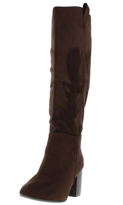 Baden4 Brown Knee High Almond Toe Stacked Boot - Wholesale Fashion Shoes