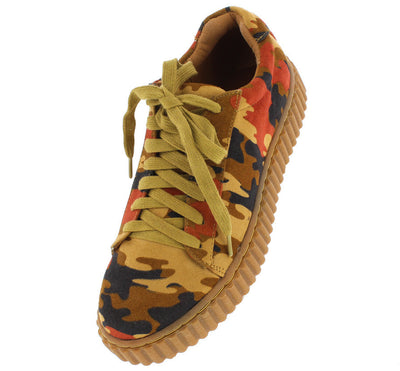 Bailey Brown Suede Camo Women's Sneaker Flat - Wholesale Fashion Shoes