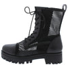 Bali1 Black Perforated Lace Up Combat Boot - Wholesale Fashion Shoes