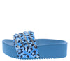 Bali1 Blue Leopard Rhinestone Platform Slide Sandal - Wholesale Fashion Shoes
