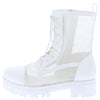Bali1 White Perforated Lace Up Combat Boot - Wholesale Fashion Shoes