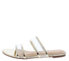 Stephanie254 Light Gold Sheer Metallic Dual Strap Flat Sandal - Wholesale Fashion Shoes