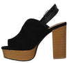 Banbi09 Black Perforated Peep Toe Slingback Block Heel - Wholesale Fashion Shoes