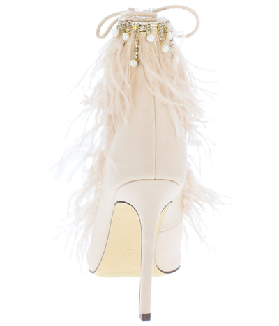 Willow199 Nude Pearl Feather Lace Up Ankle Boot - Wholesale Fashion Shoes