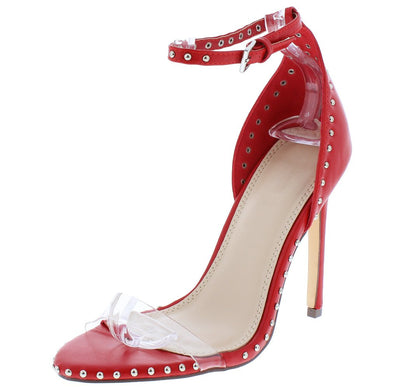 Gabriella080 Red Lucite Open Toe Stud Lined Stiletto Heel - Wholesale Fashion Shoes