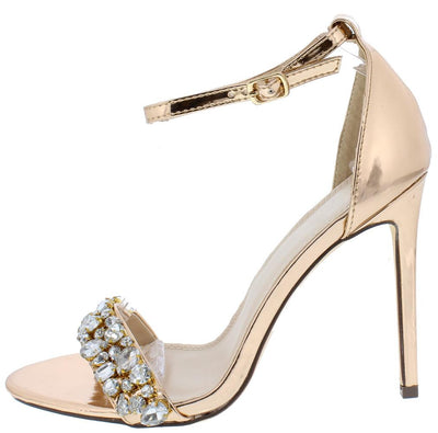 Emma187 Rose Gold Rhinestone Embellished Open Toe Heel - Wholesale Fashion Shoes