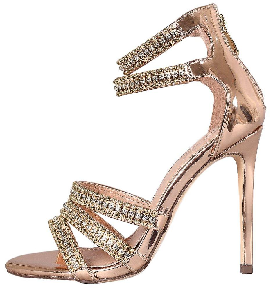 fe4af8bd55d Hailey103 Rose Gold Rhinestone Strappy Open Toe Stiletto Heel - Wholesale  Fashion Shoes