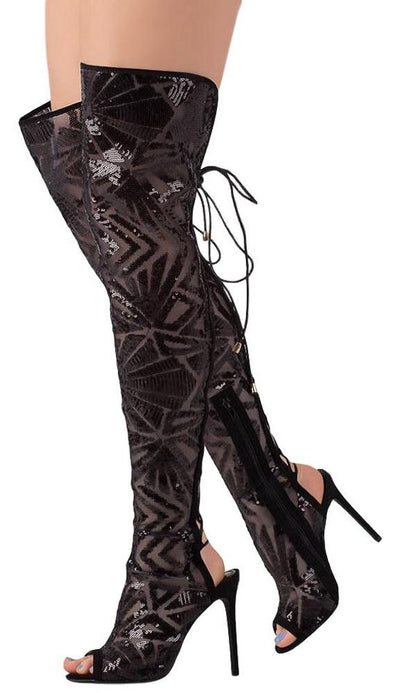 Madelyn222 Black Mesh Sequin Rear Lace Up Stiletto Boot - Wholesale Fashion Shoes