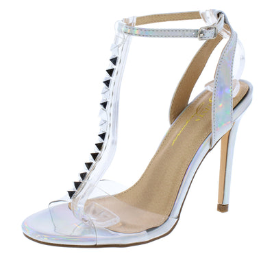 Barbara Hologram Pu Lucite Open Toe Studded T Strap Heel - Wholesale Fashion Shoes