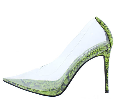 Barely There Lime Lucite Pointed Toe Stiletto Pump Heel - Wholesale Fashion Shoes