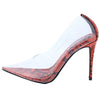 Barely There Orange Lucite Pointed Toe Stiletto Pump Heel - Wholesale Fashion Shoes