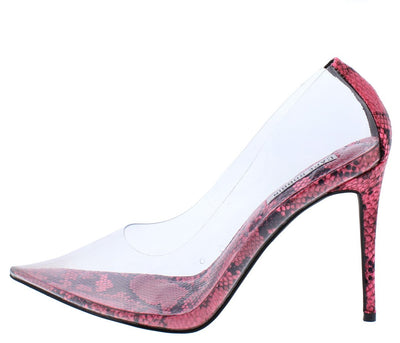 Barely There Pink Lucite Pointed Toe Stiletto Pump Heel - Wholesale Fashion Shoes