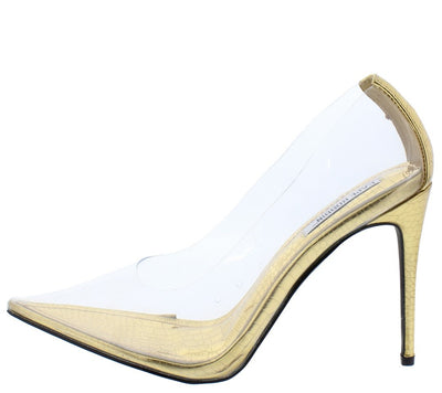 Barely There Gold Lucite Pointed Toe Stiletto Pump Heel - Wholesale Fashion Shoes
