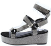 Brenda109 Black Rhinestone Open Toe Multi Strap Wedge - Wholesale Fashion Shoes