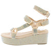 Brenda109 Nude Rhinestone Open Toe Multi Strap Wedge - Wholesale Fashion Shoes