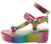 Brenda109 Rainbow Rhinestone Open Toe Multi Strap Wedge - Wholesale Fashion Shoes