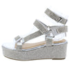 Brenda109 Silver Rhinestone Open Toe Multi Strap Wedge - Wholesale Fashion Shoes