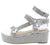Brenda109 Silver Rhinestone Open Toe Multi Strap Wedge