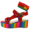 Eliza242 Rainbow Cut Out Open Toe Multi Strap Platform Wedge - Wholesale Fashion Shoes