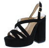 Barunka Black Strappy Open Toe Chunky Platform Heel - Wholesale Fashion Shoes