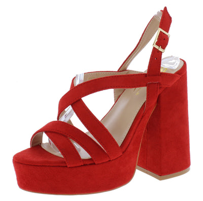 Barunka Red Strappy Open Toe Chunky Platform Heel - Wholesale Fashion Shoes