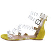 Basha01 Mustard Studded Lucite Strappy Open Toe Sandal - Wholesale Fashion Shoes