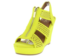 BASHA02 NEON YELLOW LASER CUT FRONT ZIPPER SLING BACK WEDGE - Wholesale Fashion Shoes
