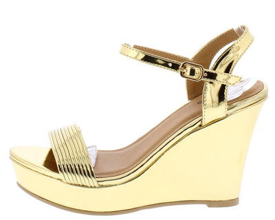 Basha09 Gold Mirror Open Toe Ankle Strap Platform Wedge - Wholesale Fashion Shoes