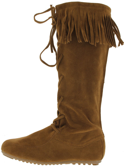 Baylee09 Tan Fringe Lace Up Boot - Wholesale Fashion Shoes