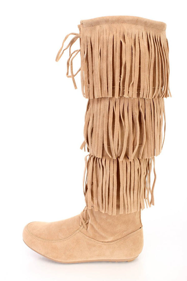 c31567a91b8b Baylee10 Beige Knee High Lace Up Multi Layer Fringe Boot