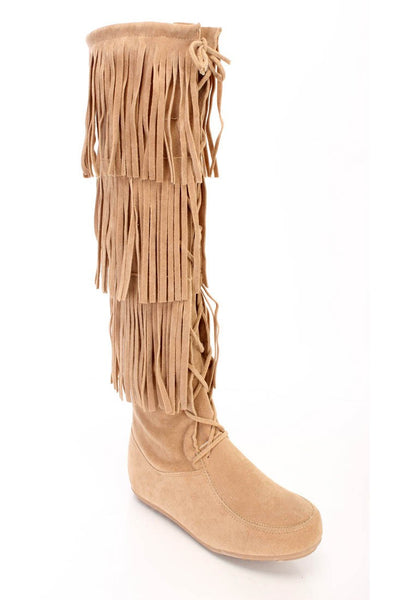 Baylee10 Beige Knee High Lace Up Multi Layer Fringe Boot - Wholesale Fashion Shoes
