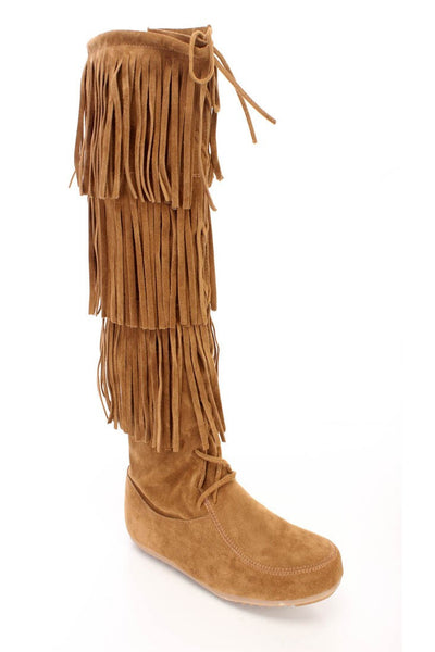 Baylee10 Tan Knee High Lace Up Multi Layer Fringe Boot - Wholesale Fashion Shoes