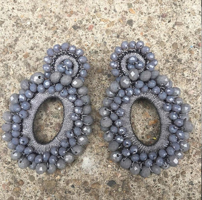 Beaded Grey Statement Earrings - Wholesale Fashion Shoes