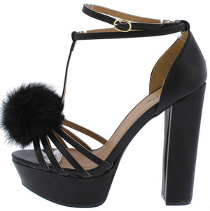 60da495c6f4 Beat58x Black Pu Strappy Pom Pom T Strap Platform Heel - Wholesale Fashion  Shoes