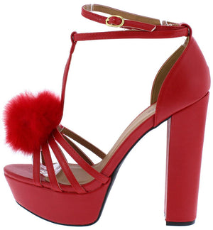 5ab86de4192 Beat58x Red Pu Strappy Pom Pom T Strap Platform Heel - Wholesale Fashion  Shoes