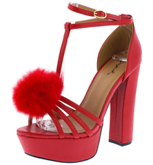 Beat58x Red Pu Strappy Pom Pom T Strap Platform Heel - Wholesale Fashion Shoes