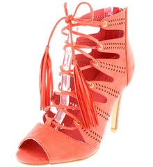 BEATRICE1 CORAL LACE UP CUT OUT PEEP TOE WOMEN'S HEEL - Wholesale Fashion Shoes