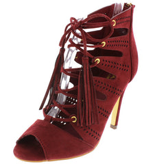 BEATRICE1 WINE LACE UP CUT OUT PEEP TOE WOMEN'S HEEL - Wholesale Fashion Shoes