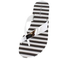 BEATS WHITE METALLIC STRAP STRIPED SOLE WEDGE - Wholesale Fashion Shoes