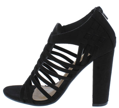 Becca08 Black Suede Fabric Strappy Open Toe Chunky Heel - Wholesale Fashion Shoes