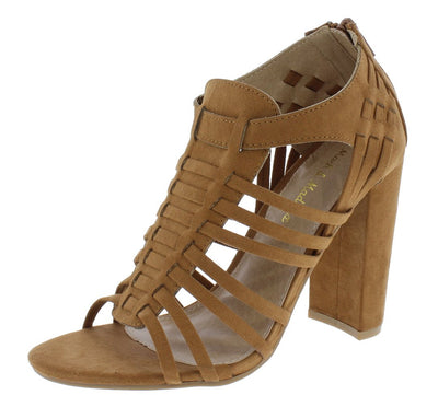 Becca08 Cognac Suede Fabric Strappy Open Toe Chunky Heel - Wholesale Fashion Shoes