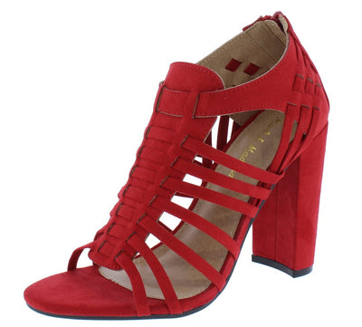 Becca08 Red Suede Fabric Strappy Open Toe Chunky Heel - Wholesale Fashion Shoes