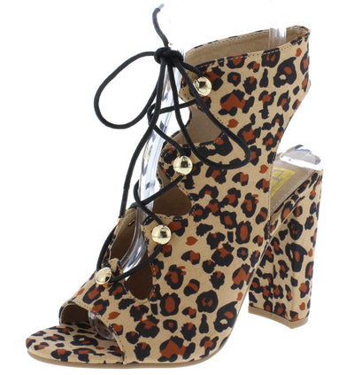 Becca10 Leopard Suede Fabric Open Toe Lace Up Cut Out Chunky Heel - Wholesale Fashion Shoes