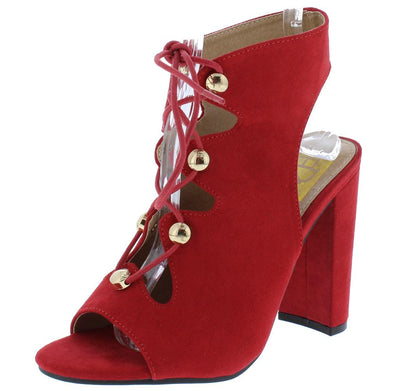 Becca10 Red Suede Fabric Open Toe Lace Up Cut Out Chunky Heel - Wholesale Fashion Shoes