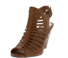 BECCA1 TAN PU STRAPPY BUCKLE STACKED SLANTED HEEL - Wholesale Fashion Shoes