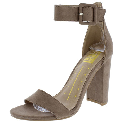 Becca21 Taupe Suede Fabric Open Toe Ankle Strap Chunky Heel - Wholesale Fashion Shoes