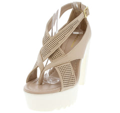 BECK05 BEIGE STRAPPY WHITE LUG SOLE BLOCK HEEL - Wholesale Fashion Shoes