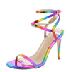 Jessica56 Rainbow Strappy Open Toe Ankle Wrap Stiletto Heel - Wholesale Fashion Shoes